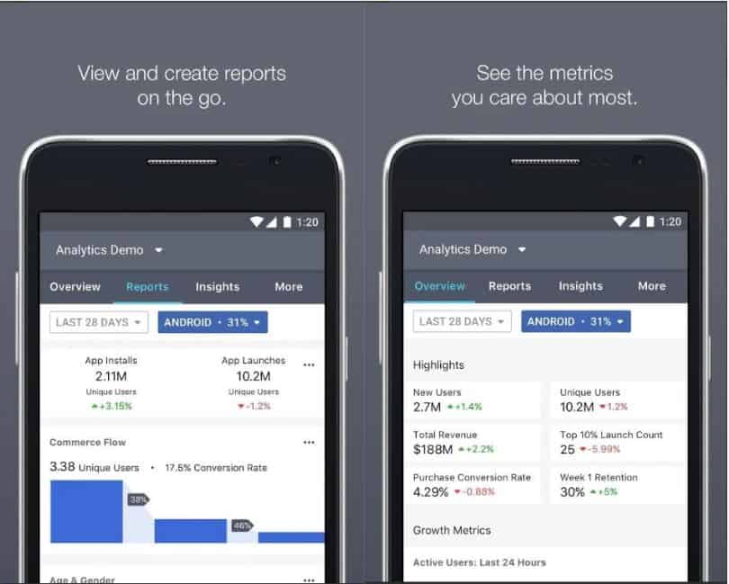 facebook analytics on mobile