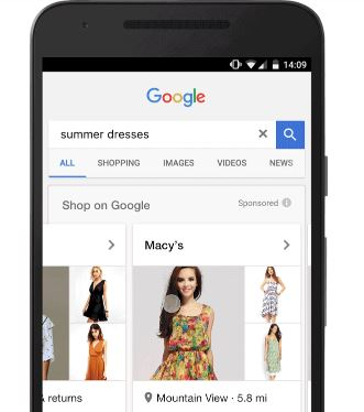 Google Showcase Shopping Ad Example for summer dresses