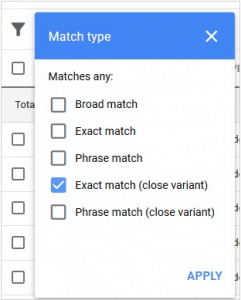 exact match selection