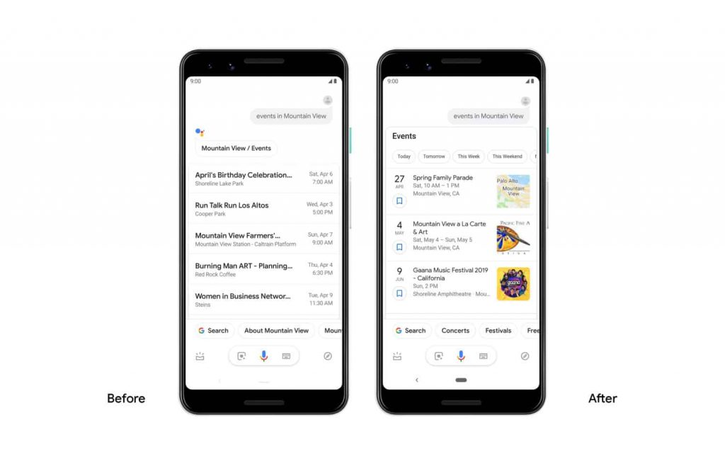 google assistant events