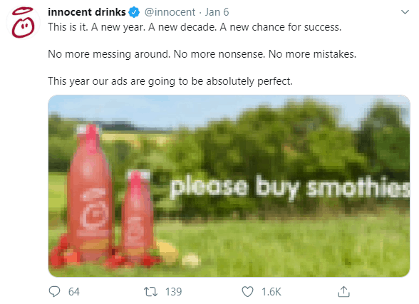 Twitter image of innocent smoothies