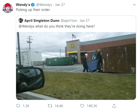 Twitter image of Wendys